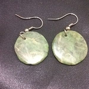 Jewelry - Marbled circle jade earrings